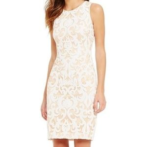 NWT White Sequin Illusion Cocktail Midi Dress